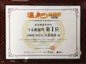 温泉総選挙2016うる肌部門第1位